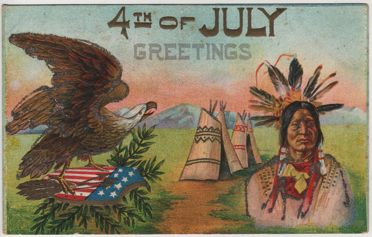 4th Of July Postcard Native American Tepee And Bald Eagle