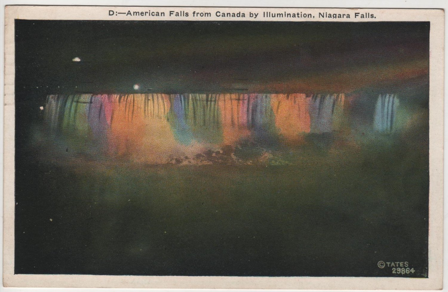 New York Landscape Postcard, Illuminated American Falls from Canada c.1929