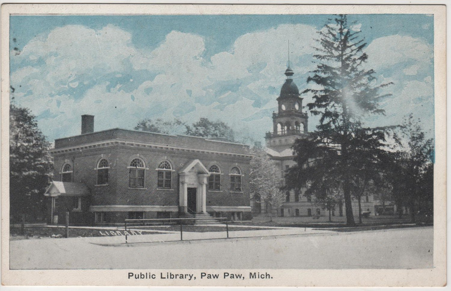 Paw Paw Michigan Postcard, Public Library Building and Grounds, Blue Tint c.1919