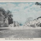 Paw Paw Michigan Postcard, Main Street Looking West, Blue Tint c.1919