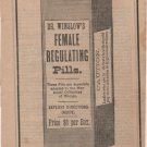 Dr. Winslow's Female Regulating Pills, Black and White Print Ad c.1870