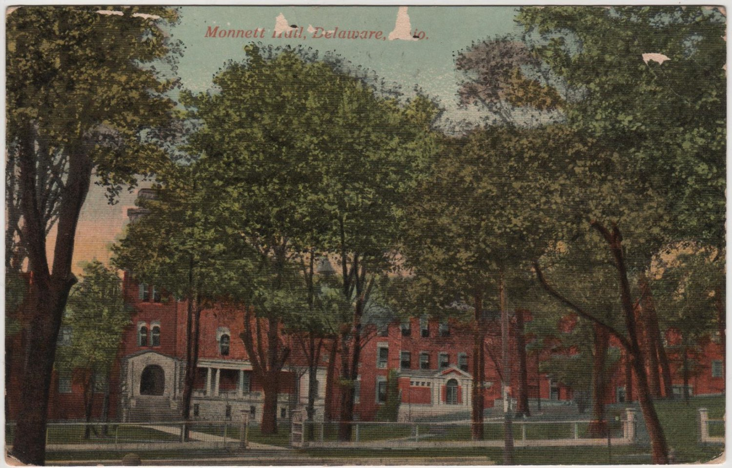 Delaware Ohio Postcard, Monnett Hall and Grounds c.1922