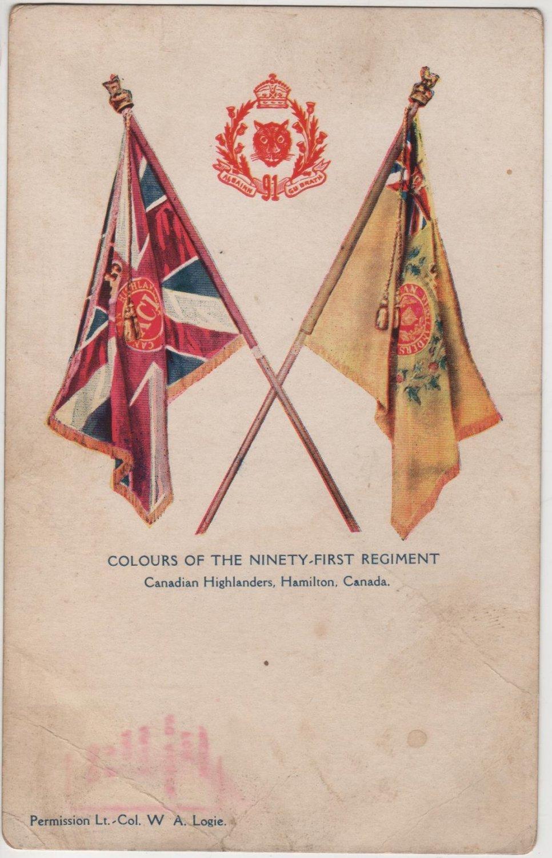 Hamilton Canada Postcard, Colours of The 91st Regiment Canadian Highlanders c.1906