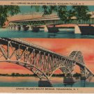 New York State Card, Grand Island Bridges North and South c.1940