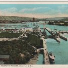 Seattle Washington Postcard, Canal Locks in Full Color c.1925