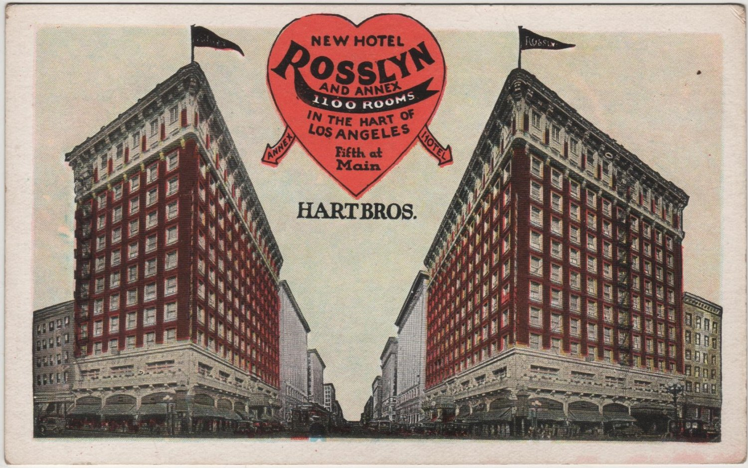 Los Angeles California Card, The New Hotel Rosslyn and Annex Building, Fifth & Main c.1925