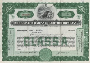 Stock Certificate, The Associated Gas & Electric Company of New York c.1945
