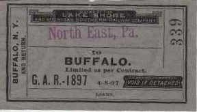 Lake Shore & Michigan Southern Railroad Ticket c.1897