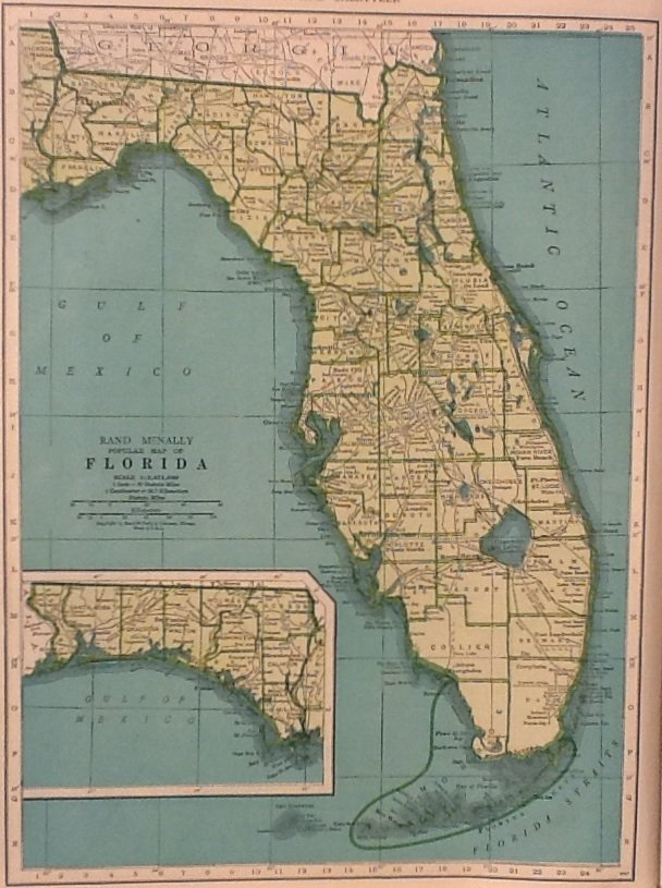 Map of florida rand mcnally for colliers world atlas c1949 gumiabroncs Image collections