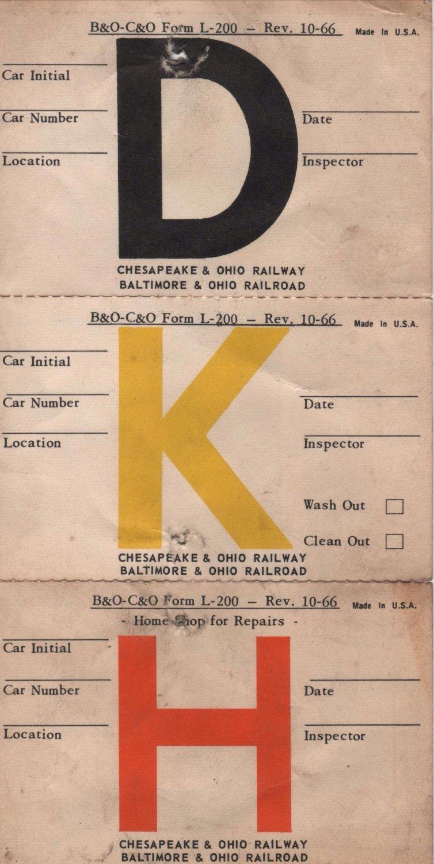 C & O Railroad Forms & Envelopes, Some B & O, Pennsylvania & New York Central, 15 Pieces c.1960