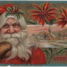 Christmas Postcard, Santa in Red with Brown Mittens, Poinsettias & Holly Trim, Embossed c.1910