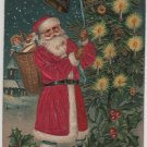 Christmas Postcard, Santa in Long Red Robe with Basket of Toys, Embossed c.1908