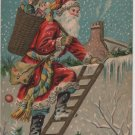 Christmas Postcard, Santa in Red Robe on Ladder with Basket of Toys, Embossed c.1908
