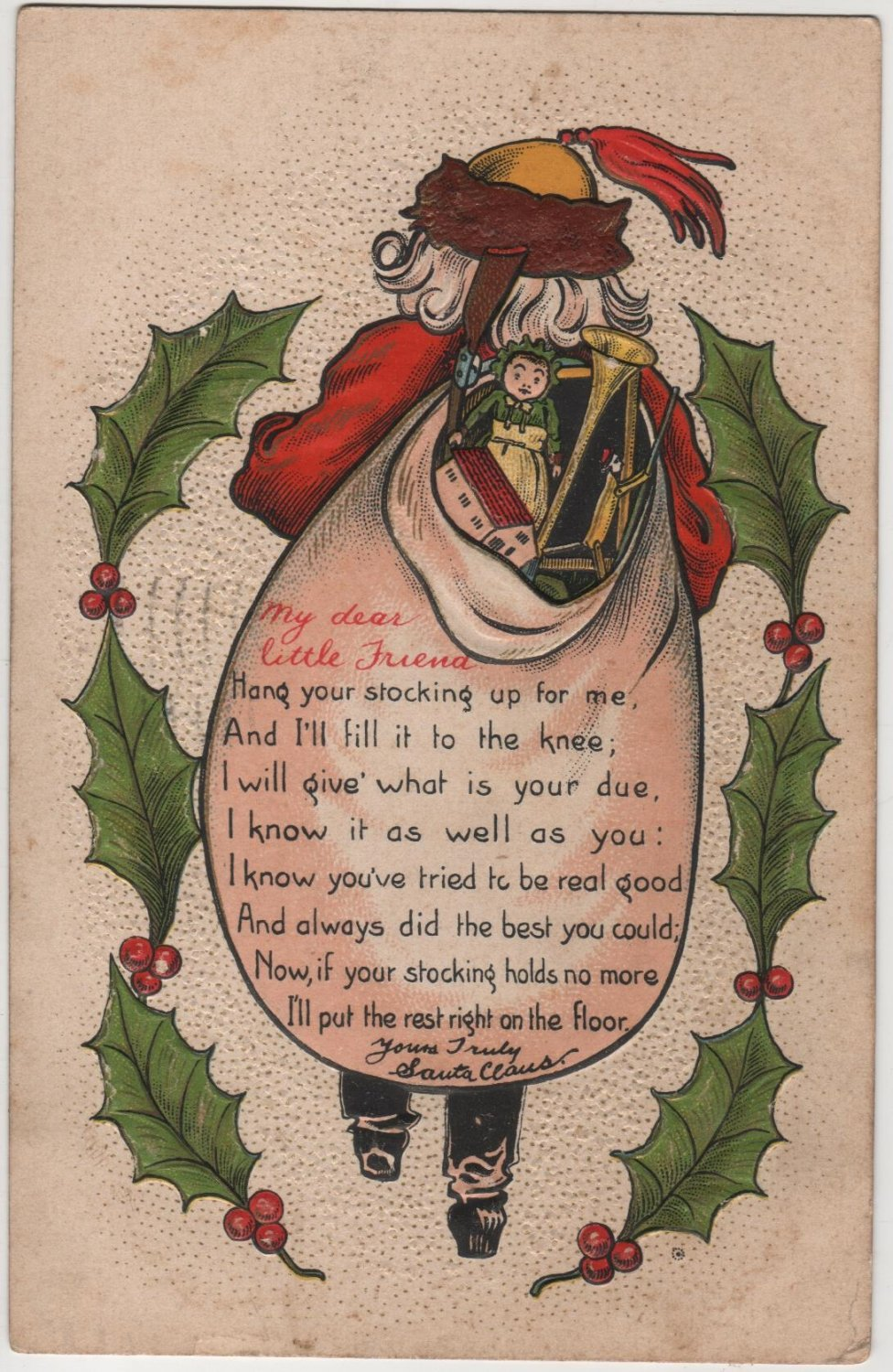 Christmas Postcard, Santa in Red with Bag of Toys, Embossed with Poem c.1910
