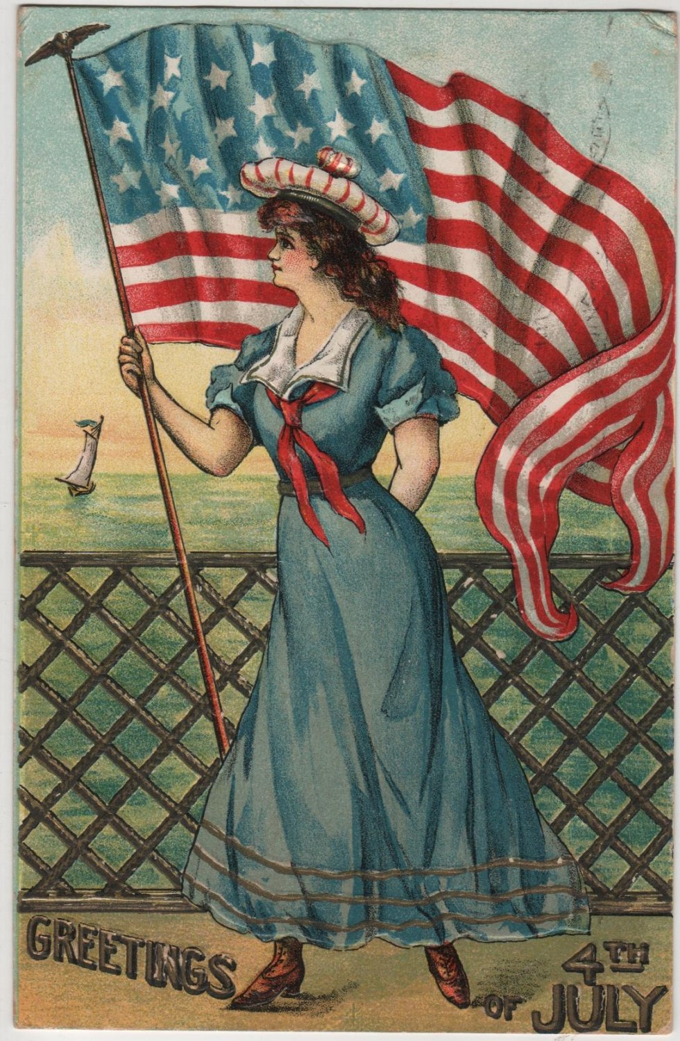 Fourth of July Postcard, Maiden on Deck, American Flag Unfurled, Full Color & Embossed c.1907
