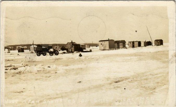 Beulah Michigan Postcard, Smelt Fishermen and Ice Shanties, Black & White Real Photo c.1941