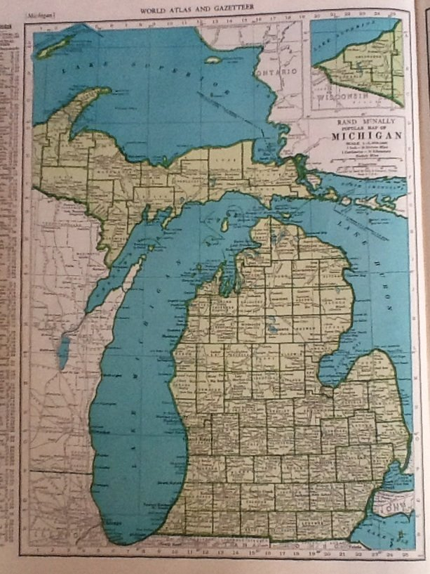 Map of michigan rand mcnally colliers world atlas c1949 gumiabroncs Gallery