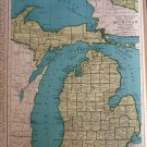 Map of Michigan, Rand McNally, Collier's World Atlas c.1949