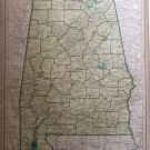 Map of Alabama, Rand McNally for Collier's World Atlas c.1949