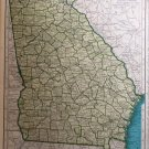 Georgia State Map, Rand McNally, Collier's World Atlas c.1949