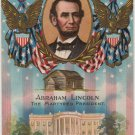 Lincoln Centennial Bday Postcard, Portrait, White House & Cabin c.1908