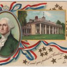 George Washington Bday Postcard, Portrait & View of Mt. Vernon c.1909