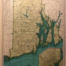 Map of Rhode Island, Rand McNally for Collier's World Atlas c.1949
