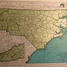 Map of North Carolina, Rand McNally c.1949