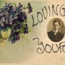 Valentines Day Postcard, Lovingly Yours with Bouquet of Violets and Glitter, Tiny Real Photo c.1910