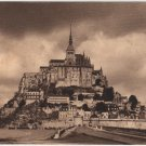 Mont Saint Michel France Postcard, The Abbey, WWI Era Sepia Tone c.1917