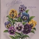 Easter Holiday Card for Mother, Pansies Embellished with Sequins c.1952