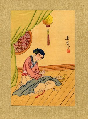 Japanese Prints on Silk, Young Woman Darning c.1930