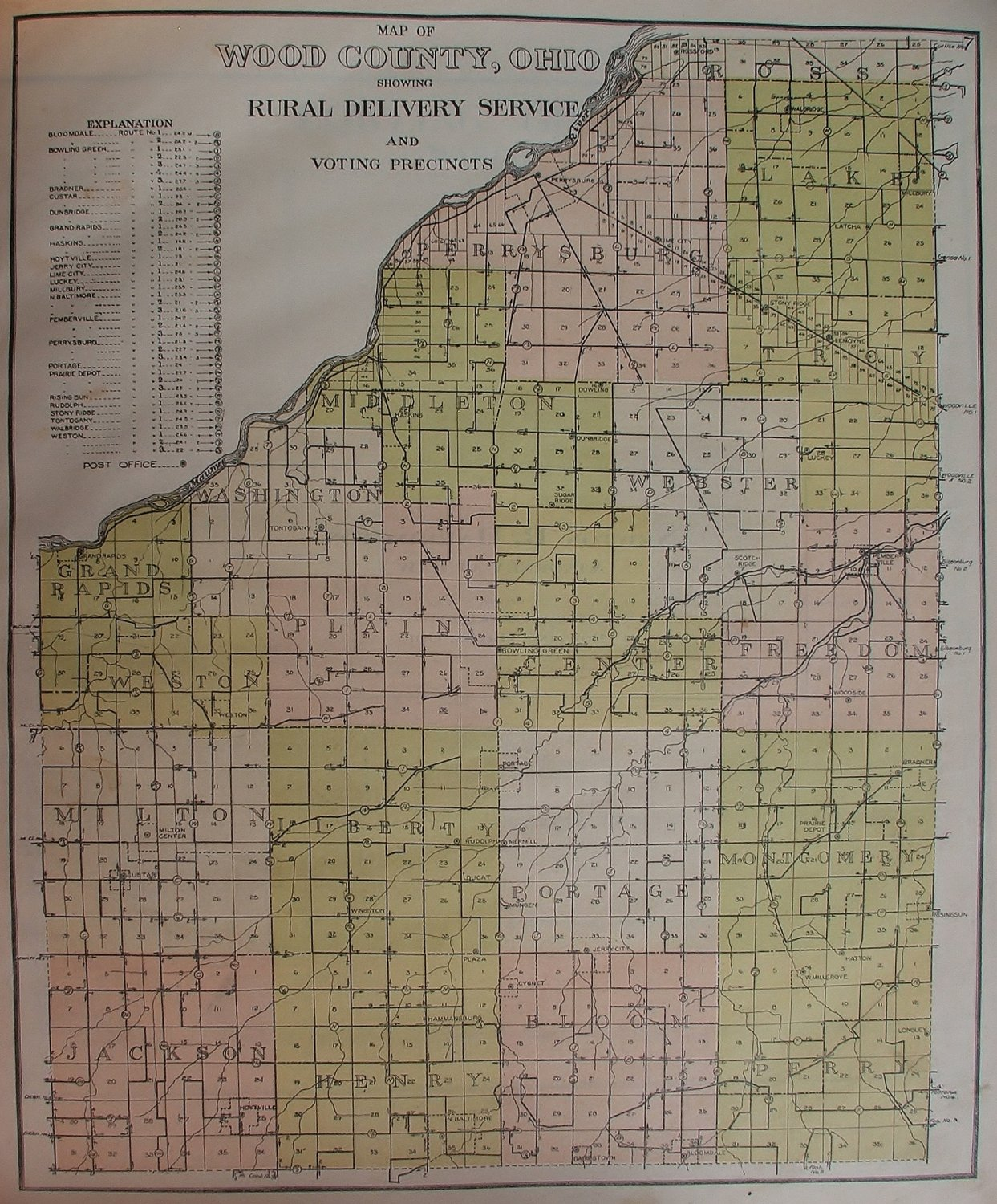 Wood County Ohio Map, Rural Delivery, Voting Precincts c 1912