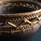 Folk Art Dark Wood Bowl, Woven Basket Trim