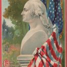George Washington Bday Postcard, Bust & Flags  c.1910