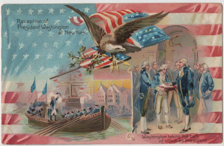 George Washington Bday Postcard, Reception & Oath c.1907