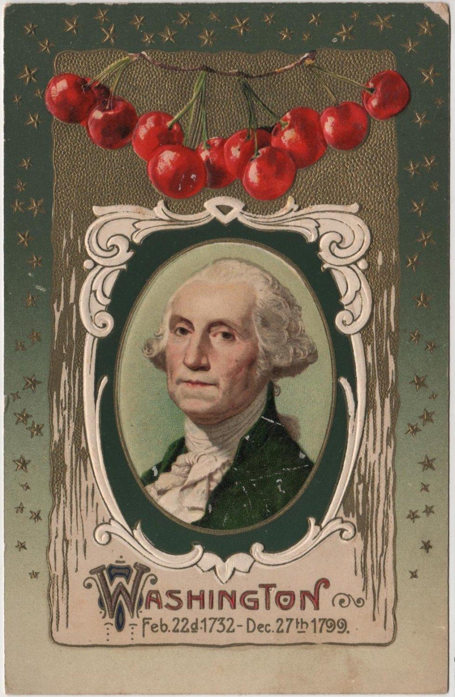 Geo. Washington Bday Card, Portrait, Stars & Cherries c.1909