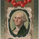 Geo. Washington Bday Card, Portrait, Stars & Cherries c.1909