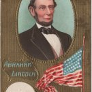 Lincoln Centennial Bday Postcard, Gold Portrait & Flag c.1908