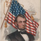 Lincoln Centennial Bday Postcard, Portrait & Flag c.1908