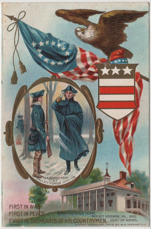 Geo. Washington Bday Card, Valley Forge & Mt. Vernon c.1910