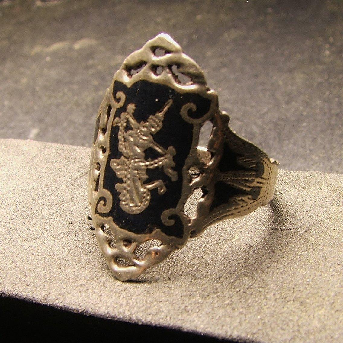 Siam Sterling Silver & Black Enamel Ring Size 7 c.1949