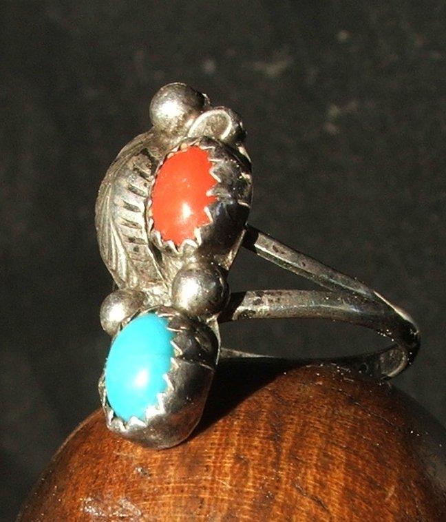Vintage Branch Coral Ring in Navajo Silver c.1959