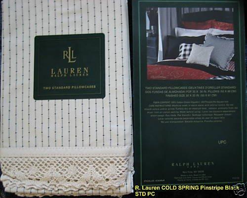 R Lauren COLD SPRING Stripe Black STANDARD Pillowcases