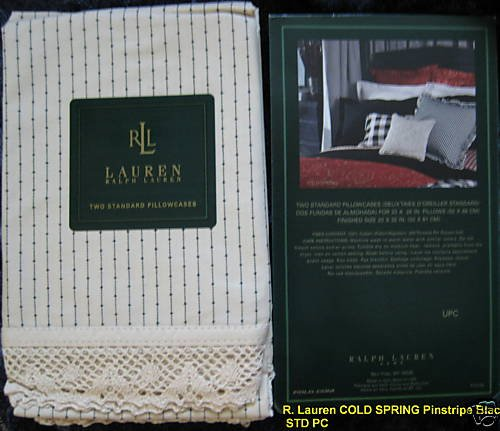 R Lauren COLD SPRING Pinstripe Black STD*QN Pillowcases