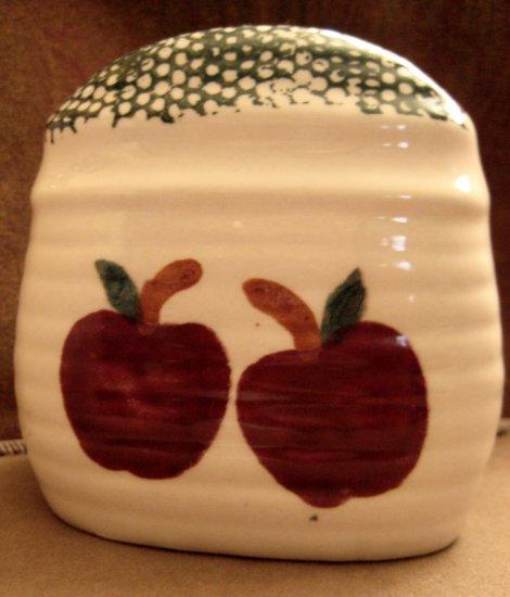 NAPKIN HOLDER Red Apples Ceramic Spongeware VINTAGE but NEW w/ ALCO Label