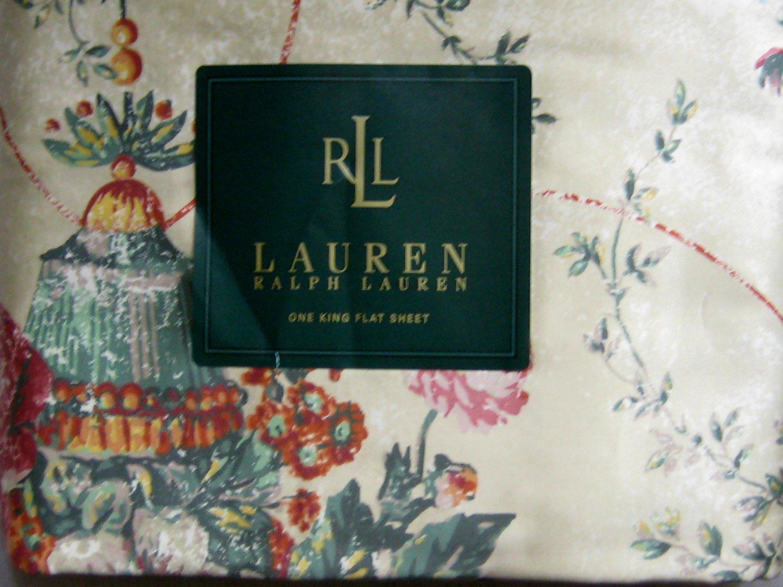 Ralph Lauren KING / CA KING FLAT SHEET Villandry Floral 450-TC Cotton SATEEN SKU# 028828463951 New
