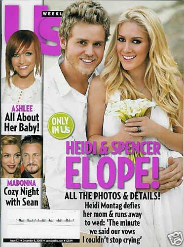 US WEEKLY MAGAZINE DEC. 8, 2008. HEIDI & SPENCER ELOPE!