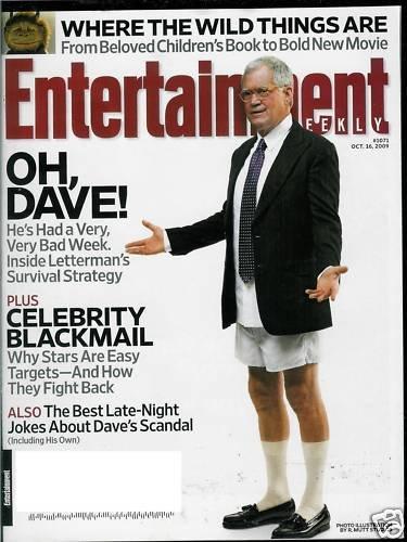 ENTERTAINMENT WEEKLY MAGAZINE OCTOBER 16, 2009 DAVID LETTERMAN