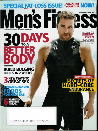 MEN'S FITNESS MAGAZINE AUGUST 2009 JEREMY PIVEN
